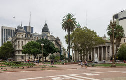 Plaza de Mayo Buenos Aires. The historical buildings around Plaza de Mayo including the white facade with its colonnade of the cathedral, downtown Buenos Aires Royalty Free Stock Photography