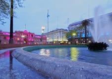 Plaza de Mayo in Buenos Aires, Argentina. Argentina, Buenos Aires Province, City of Buenos Aires, Monserrat, Twilight view towards the Casa Rosada on Plaza de Royalty Free Stock Image