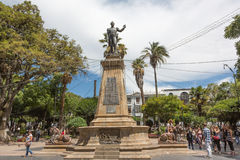 Plaza 25 de Mayo, Sucre, Bolivia. Monument to Antonio José de Sucre on the Plaza 25 de Mayo in Sucre, Bolivia on January 07, 2013. The monument is located on Royalty Free Stock Image
