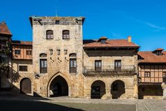 Plaza de Mayor in Santillana del Mar, Cantabria, Spain. Typical architecture in the main square of Santillana del Mar stock photography