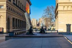 Plaza de Nuestra SeA±oraa del毛发的正方形在萨瓦格萨,西班牙 免版税库存图片
