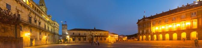 Plaza de Obradoiro το βράδυ Στοκ εικόνες με δικαίωμα ελεύθερης χρήσης