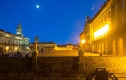 Plaza de Obradoiro in evening time. Santiago de Compostela Stock Image