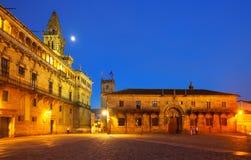 Plaza DE Obradoiro in nacht Santiago DE compostela Royalty-vrije Stock Foto