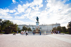 Plaza de Oriente with tourists on a spring day in Madrid Royalty Free Stock Photos