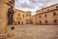 Plaza de Santa Maria in Caceres stock photo