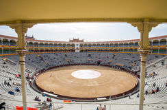 Plaza de Toros de Las Ventas interior view with tourists gathering for the bull show in Madrid royalty free stock photos