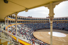 Plaza de Toros de Las Ventas interior view with tourists gatheri Stock Photos