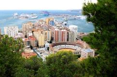 Plaza de Toros and harbor in Spanish Malaga royalty free stock photos