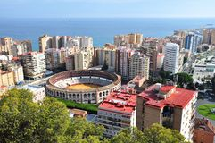 Plaza de Toros and harbor in Spanish Malaga Royalty Free Stock Images