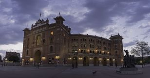 Bullring of the Ventas Madrid,Spain. Stormy afternoon during the visit through the city of Madrid in the bullring of Ventas. Spain stock photography