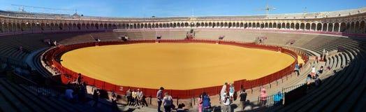 Plaza de Toros at Seville. Bullfight, Spain, yellow Royalty Free Stock Photos