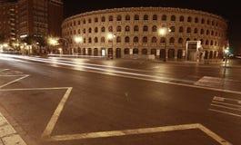 Plaza de toros, valencia. Plaza de toros of valencia at night Royalty Free Stock Image
