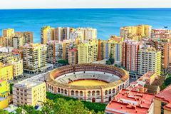 Plaza de Toros & x28;bullring& x29; in the foreground, Malaga,Andalusia,Costa del sol, Spain, Europe Royalty Free Stock Images
