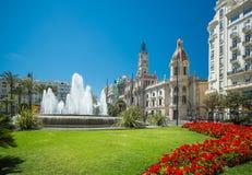 Plaza del Ayuntamiento, Βαλένθια, Ισπανία Στοκ Φωτογραφία