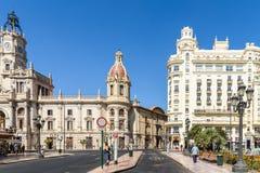 Plaza del Ayuntamiento In Βαλένθια Στοκ Εικόνες