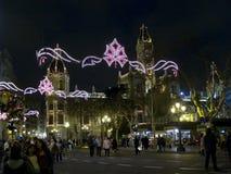 Plaza del Ayuntamiento τή νύχτα σε Fallas, Βαλένθια Στοκ φωτογραφίες με δικαίωμα ελεύθερης χρήσης