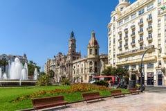 Plaza del Ayuntamiento In巴伦西亚 库存图片