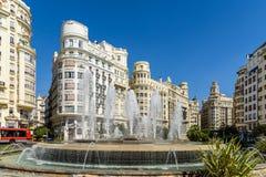 Plaza del Ayuntamiento In巴伦西亚 库存照片