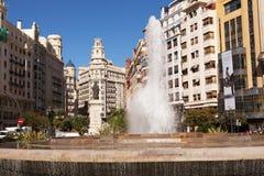 Plaza del Ayuntamiento Fountain, Βαλένθια, Ισπανία Στοκ φωτογραφία με δικαίωμα ελεύθερης χρήσης