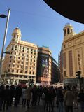 Plaza del Callao, Madrid, Spain. Christmas in Madrid Royalty Free Stock Images