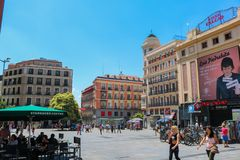 Plaza del Callao, Madrin. Shoot during summer in July 2018 royalty free stock image