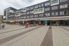 Plaza del campus, esquina de la comida en la universidad de Wageningen Foto de archivo