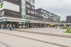 Plaza del campus, esquina de la comida en la universidad de Wageningen Imágenes de archivo libres de regalías