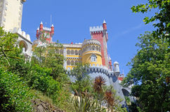 Plaza del castello di Pena da sotto, Sintra, Portogallo Fotografia Stock