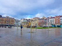 Plaza del Castillo of Pamplona side image in which you can see the buildings that form it and the contral kiosk. without just royalty free stock photos