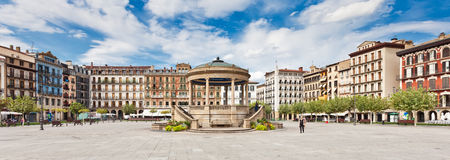 Plaza del Castillo in Pamplona, Spain. Plaza del Castillo in the center of Pamplona, Spain. Pamplona is famous for its San Fermin festival in which bulls run on Stock Images