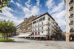 Plaza del Castillo in Pamplona, Spain stock photography
