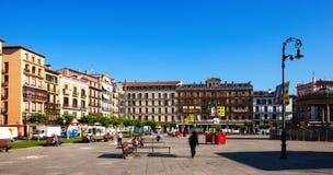 Plaza del Castillo in Pamplona Stock Photography