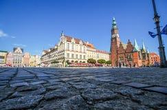 Plaza del mercado en el Wroclaw, Polonia Imagen de archivo libre de regalías
