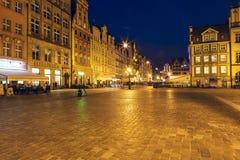 Plaza del mercado en la noche, Wroclaw Foto de archivo