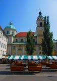 Plaza del mercado en Ljubljana Foto de archivo