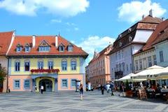 Plaza del mercado en Sibiu, capital europea de la cultura por el año 2007 Foto de archivo