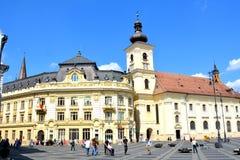 Plaza del mercado en Sibiu, capital europea de la cultura por el año 2007 Imagenes de archivo