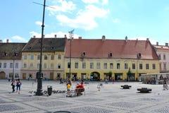 Plaza del mercado en Sibiu, capital europea de la cultura por el año 2007 Fotos de archivo