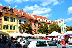 Plaza del mercado en Sibiu, capital europea de la cultura por el año 2007 Foto de archivo libre de regalías