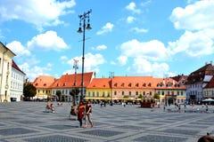 Plaza del mercado en Sibiu, capital europea de la cultura por el año 2007 Imagen de archivo libre de regalías