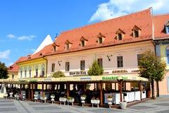 Plaza del mercado en Sibiu, capital europea de la cultura por el año 2007 Fotos de archivo libres de regalías