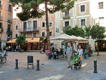 Plaza del Pi在巴塞罗那,西班牙 库存图片