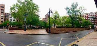 Plaza del Portillo with rain in Zaragoza royalty free stock images
