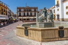 PLAZA DEL SOCORRO AND BLAS INFANTE in the city of Ronda Spain, E. Urope on a hot summer day with clear blue skies Royalty Free Stock Image