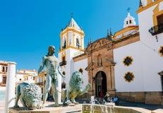Plaza Del Socorro Church στη Ronda, Ισπανία παλαιά πόλη εικονικής παρά&s Στοκ φωτογραφία με δικαίωμα ελεύθερης χρήσης