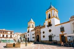 Plaza Del Socorro Church στη Ronda, Ισπανία παλαιά πόλη Στοκ εικόνα με δικαίωμα ελεύθερης χρήσης