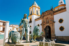 Plaza Del Socorro Church In Ronda, Spain. Old Town Stock Photo