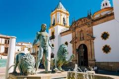 Plaza Del Socorro Church In Ronda, Spain. Old Town Stock Photo