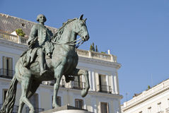 Plaza del sol, Karl III statue, Madrid Royalty Free Stock Photos